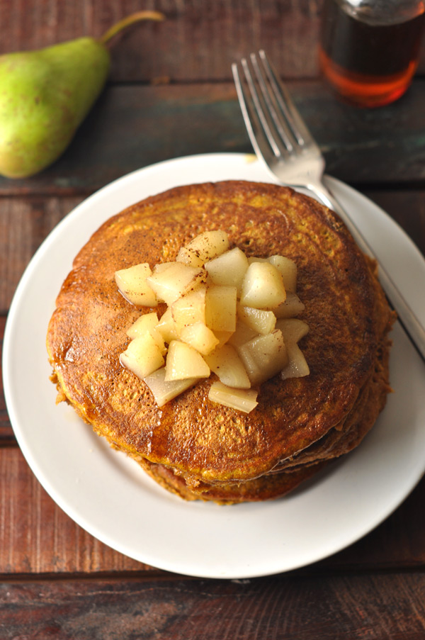 pumpkin-pancakes-poached-pears